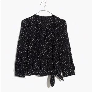Madewell Silk Wrap Top in Star Scatter - Small